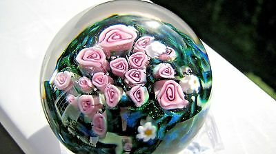 Shawn Messenger STUDIO SPHERE:  Multi Millefiori Pink Rose Designs, signed,1.75""