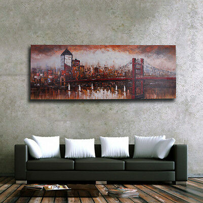 Modern Oil Painting Canvas City Scene Large Art On Wall Decor Handpainted Framed