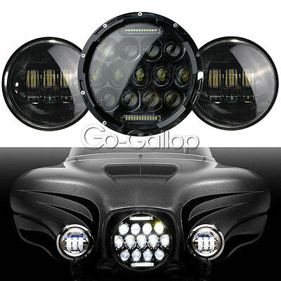 """7"""" LED Projector Daymaker Headlight Passing Lights Fit Harley Street Glide FLHX"""