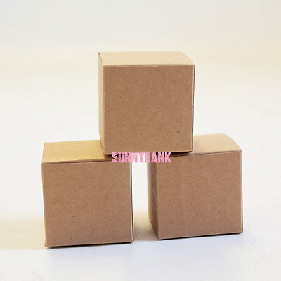 12 BROWN Square Cardboard DIY Kraft Gift Boxes Wedding Party Bomboniere Favour