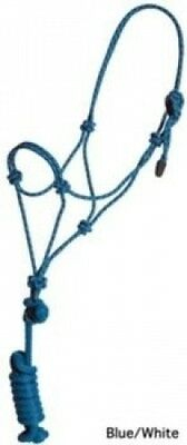 Mustang Rope Halter with Lead Teal/Black. Free Shipping