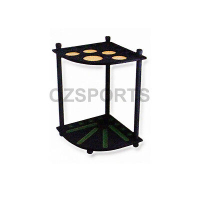 Formula Wooden 8 Cue Corner Stand / Rack Black with Drink Ball Holder for Pool