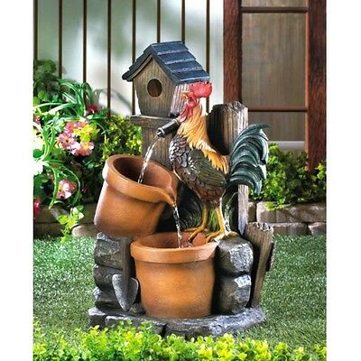 ROOSTER Water Fountain Country Garden Decor w Pump