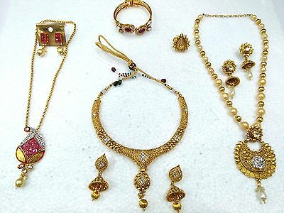 Bollywood Combo Jewelry Sets Gold Plated 8 Piece Indian Long Necklace Set