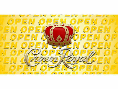Open Crown Royal Derby Whiskey Banner Pub Bar Sign