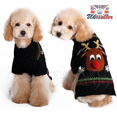 Pet Christmas Sweater Reindeer Puppy Dog Cat Winter Clothes Striped knit Jumper