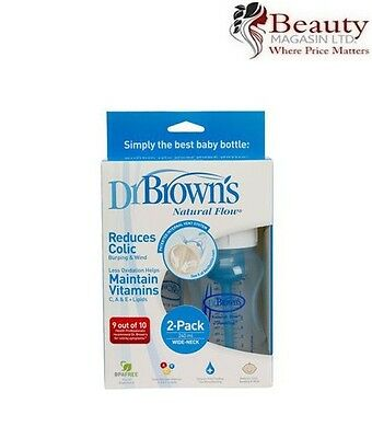 Dr Brown's Natural Flow Special Edition 240ml BLUE Bottles Twinpack