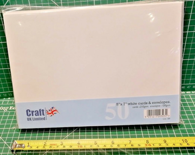 Craft UK blank greeting cards & envelopes  5 x 7 inch white colour x 50
