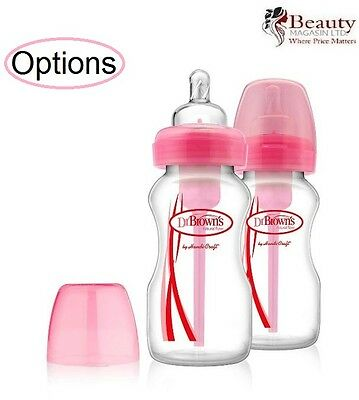 Dr Brown's Options 270ml Natural Flow Baby Bottles Special Edition PINK - 2pk