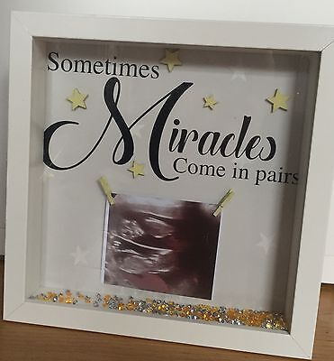 Keepsake box frame Twins Scan photo new baby or baby shower gift