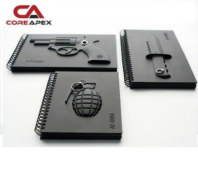 Armed Notebooks - Grenade, Gun, Knife, Drawing Journal Diary Memo Pad, Cool