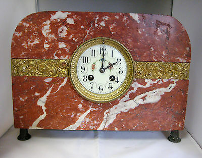 Antique Red Marble Clock with Hour Repeater, Bell, 1880