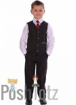 Boys Suit Grey Tweed Suits 4 Piece pageboy, formal, wedding From Poshtotz