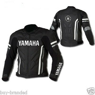 BLACK YAMAHA Motorcycle Leather Jacket Cowhide Motorbike Protection ALL-SIZE