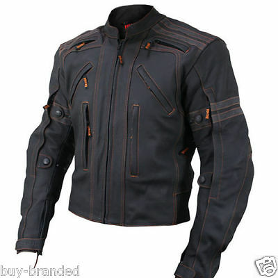 Cruiser Sports Motorbike Cowhide Leather Jacket Motorcycle Bikers Racing XS-4XL