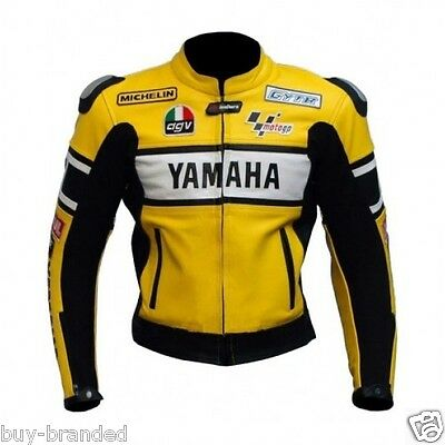 YELLOW YAMAHA Motorbike Racing Leather Jacket Motorbike Cowhide Leather Jacket
