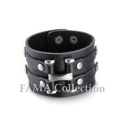Quality Thick FAMA Black Adjustable Leather Bracelet with Steel Studs