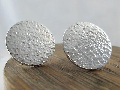 Sterling Silver Hammered Disc Ear Studs - Sizes 8/10/12/15/18mm - Handmade