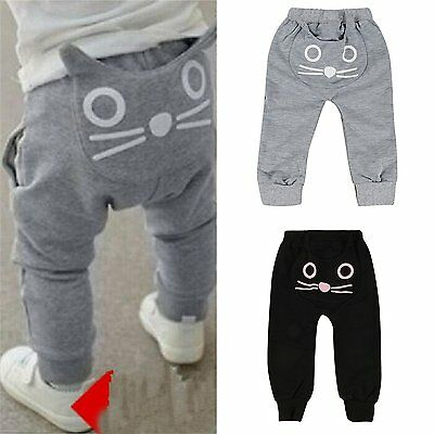 Newborn Infant Kids Baby Boy Girls Cat Bottom Harem Pants Leggings Trousers 0-4Y