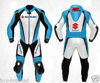 SUZUKI GSXR Motorcycle MENS Leather Suit Racing Cowhide Leather Suit ONE PIECE