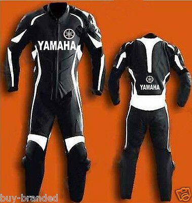 BLACK YAMAHA Motorcycle MENS Leather Suit Racing Cowhide Leather Suit ONE PIECE
