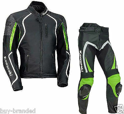 Kawasaki Sports Motorcycle Suit Leather Motorbike Racing Cowhide Leather