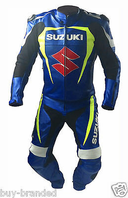 Suzuki Sports Motorcycle Suit Leather Motorbike Racing Cowhide Leather Suit