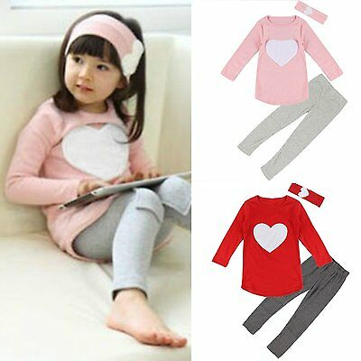 Toddler Kids Baby Girls Outfits Clothes T-shirt Tops Dress+Long Pants 2PCS Sets