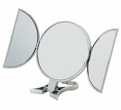 Danielle Round Silver 3-Way 5x Magnification Hand Held Mirror D623
