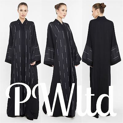 SELF PRINT Dubai Style JACKET Abaya Maxi Dress Farasha Modest Wear
