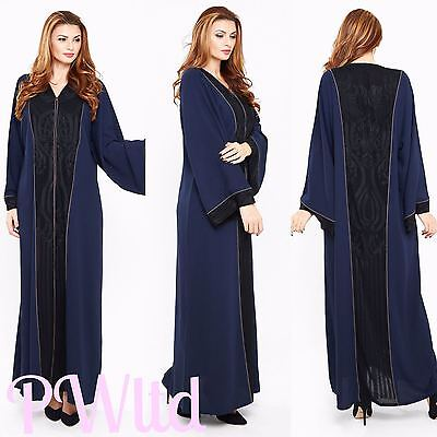 VINTAGE LACE Dubai Style JACKET Abaya Maxi Dress Farasha Modest Wear FULL SLEEVE