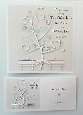 Personalised Wedding Day Card & Gift Wallet  Sister Brother In Law BOXED OPTION