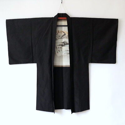 Japanese Men's Silk Haori Kimono Jacket Vintage Charcoal Almost Black L108