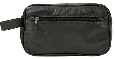 Mens Large Soft Black Leather Toiletry Wash Bag Travel Toiletries Double- 5214