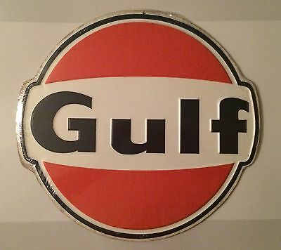 """Gulf Gasoline Oil 12"""" Round Metal Sign Vintage Look Brand New Free Shipping"""