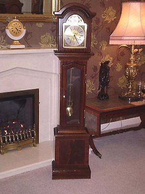 wiA sweet little Westminster chiming Granddaughter clock in mahogany, Serviced .