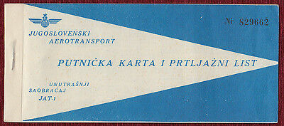 RARE Airplane Ticket JAT Airlines Yugoslavia Serbia Belgrade Split Croatia 1960s