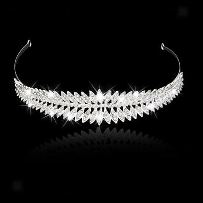 Bridal Crystal Rhinestone Leaf Headband Hair Band Silver Tiara Wedding Crown
