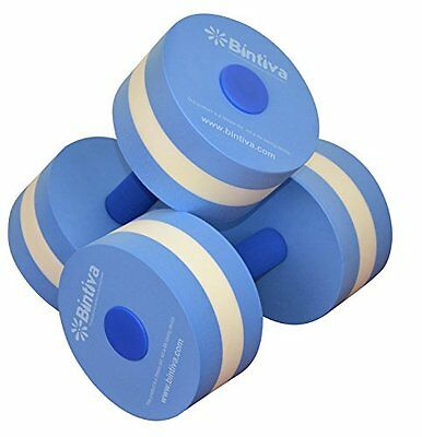 Bintiva Aqua Dumbells Blue and White - Water Resistance Weights Come in 3 Sizes