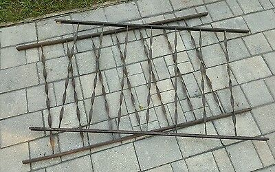 8 ft Antique Wrought Iron Fence Vtg Architectural Salvage Garden 2 Sections