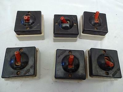 6 Pieces  Antique Bakelite  Electric Switches 15Amp 250V Jaikishan Made In India