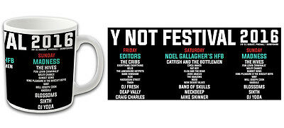 Y Not Festival Souvenir Mug July 2016 Pikehall UK Noel Gallagher Madness etc