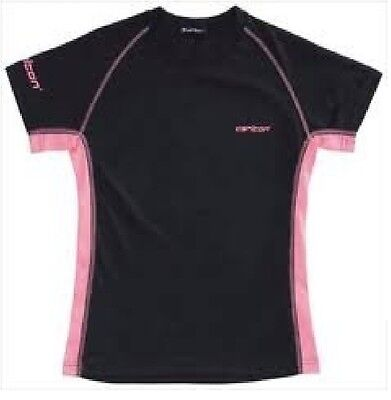 BADMINTON TOP Carlton Shirt Girls Junior Small Black / Pink Coolfresh (306272)