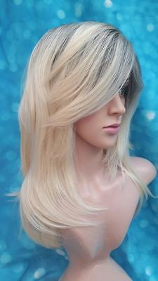 Ladies womens Zyr synthetic blonde/dark roots long hair straight fashion wig