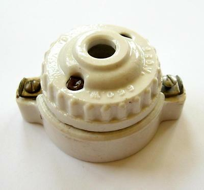 Antique Federal Porcelain Electric Outlet Twist Plug Surface Mount Socket VTG