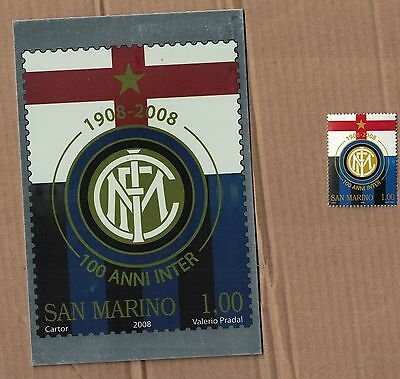 SAN MARINO Centenario Inter 2008 MNH+cartolina maximum regalo ANNULLO 08/03/2008