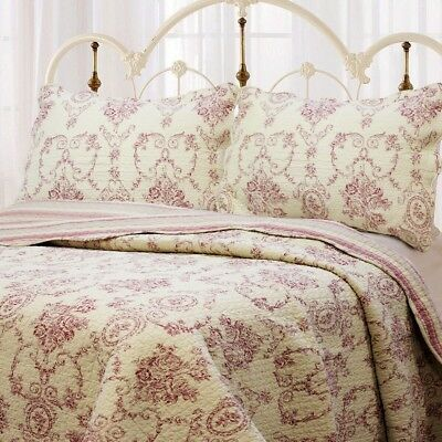 French Medallion Red 100% Cotton Quilt Set, Bedspread, Coverlet