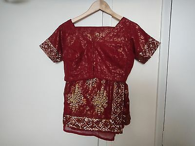 red saree with readymade blouse