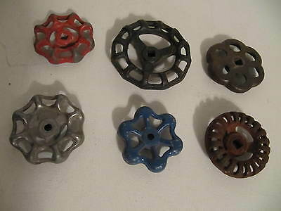6-Vintage Valve Handles Water Faucet Knobs Steampunk Industrial Cast Metal