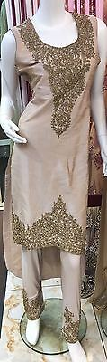 Brand New Asian Wedding Party Wear Outfit In Nude Colour Size 14